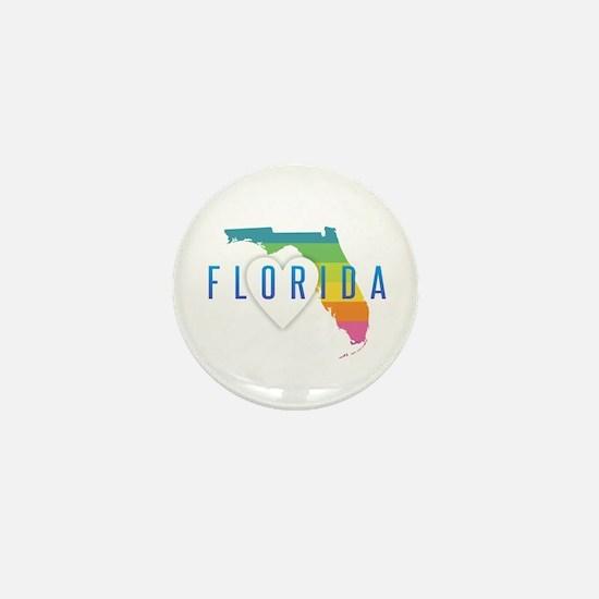 Florida Heart Rainbow Mini Button
