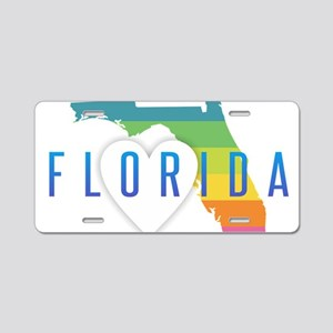 Florida Heart Rainbow Aluminum License Plate