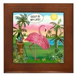 Golfing Flamingo Framed Tile