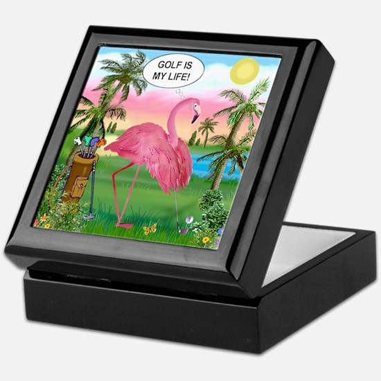 Golfing Flamingo Keepsake Box