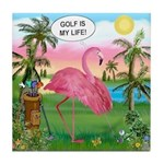 Golfing Flamingo Tile Coaster