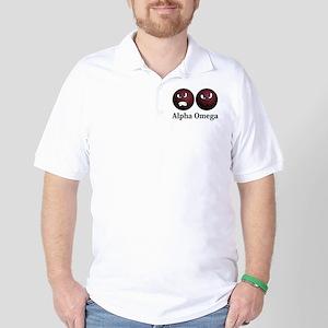 Apha Omega Logo 11 Golf Shirt Design Front Pocket