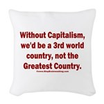 Without Capitalism Woven Throw Pillow