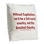 Without Capitalism Burlap Throw Pillow