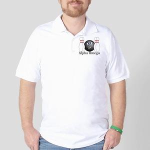 Apha Omega Logo 3 Golf Shirt Design Front Pocket a