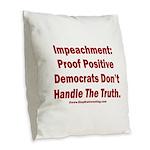 Impeachment reveals Dems Burlap Throw Pillow