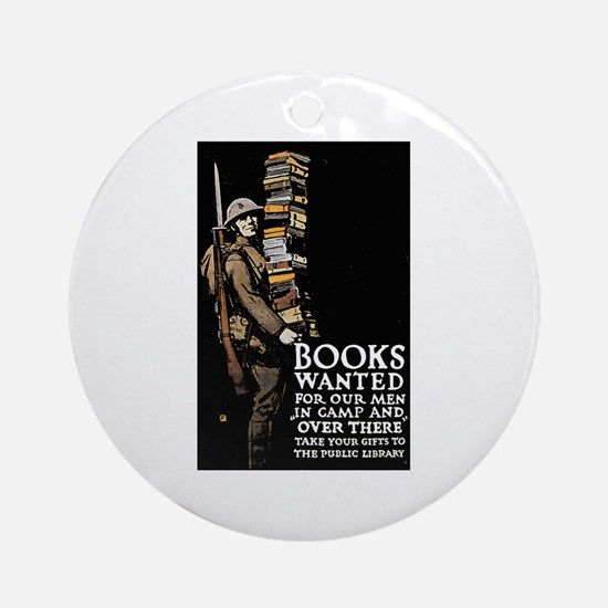 Books Wanted Poster Art Ornament (Round)