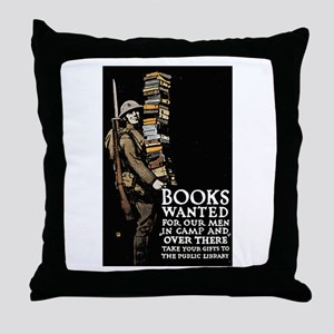 Books Wanted Poster Art Throw Pillow