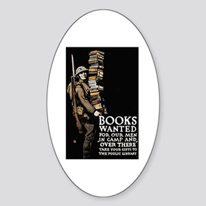 Books Wanted Poster Art Oval Sticker