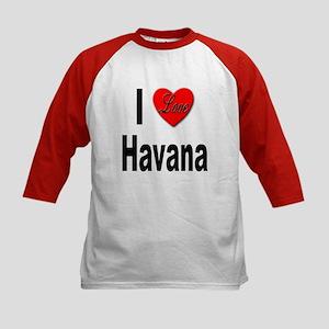 I Love Havana Cuba (Front) Kids Baseball Jersey