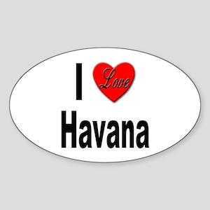 I Love Havana Cuba Oval Sticker