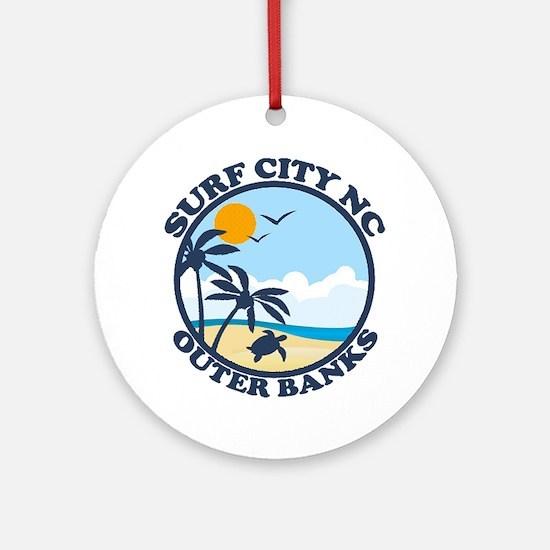 Surf City NC - Beach Design Ornament (Round)