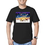 Xmas Sunrise - Five Dogs Men's Fitted T-Shirt (dar
