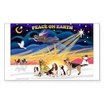 Xmas Sunrise - Five Dogs Sticker (Rectangle)