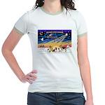 Xmas Sunrise - Five Dogs Jr. Ringer T-Shirt