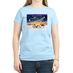 Xmas Sunrise - Five Dogs Women's Light T-Shirt