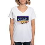 Xmas Sunrise - Five Dogs Women's V-Neck T-Shirt