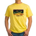 Xmas Sunrise - Five Dogs Yellow T-Shirt