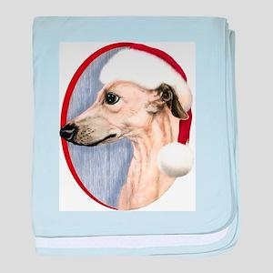 Fawn Whippet Santa Infant Blanket