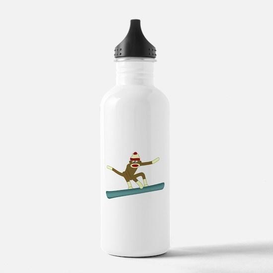 Sock Monkey Snowboarder Water Bottle