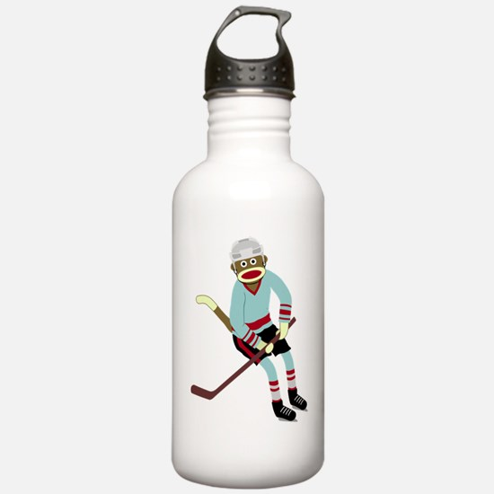 Sock Monkey Ice Hockey Water Bottle