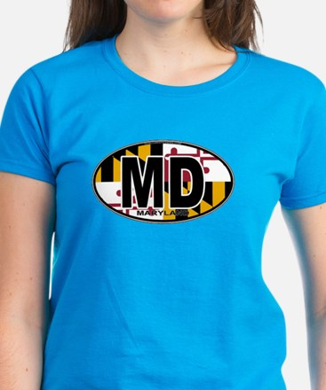 Maryland MD Oval (w/flag) Women's Dark T-Shirt
