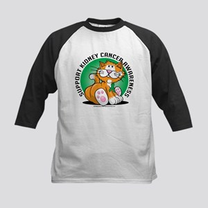 Kidney Cancer Cat Kids Baseball Jersey