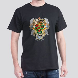 Kidney Cancer Cross and Heart Dark T-Shirt