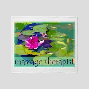 Massage Therapist / Waterlily Throw Blanket