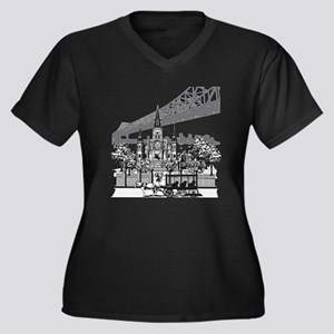New Orleans Women's Plus Size V-Neck Dark T-Shirt
