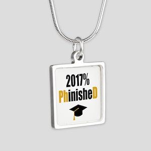 2017 PhD Silver Square Necklace