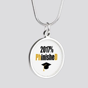 2017 PhD Silver Round Necklace