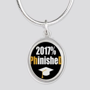 2017 PhD Silver Oval Necklace