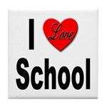 I Love School Tile Coaster