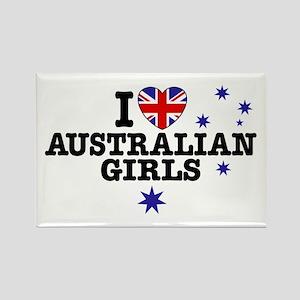 I Love Australian Girls Rectangle Magnet