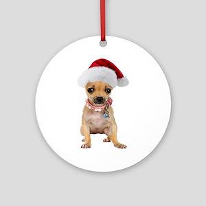 Santa Chihuahua Ornament (Round)