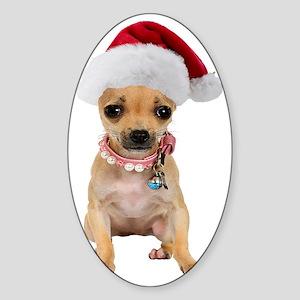 Santa Chihuahua Sticker (Oval)