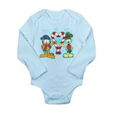 Garfield Candy Cane Heart Long Sleeve Infant Bodys