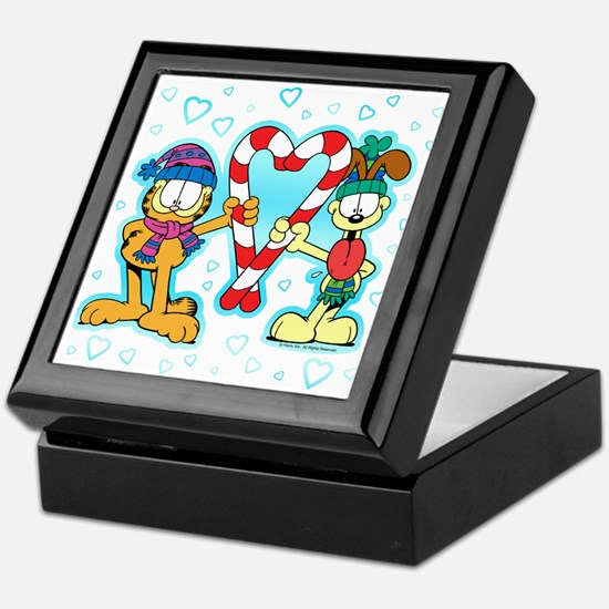 Garfield Candy Cane Heart Keepsake Box
