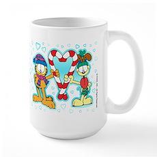 Garfield Candy Cane Heart Large Mug