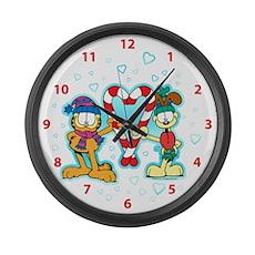 Garfield Candy Cane Heart Large Wall Clock