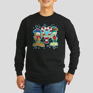 Garfield Candy Cane Heart Long Sleeve Dark T-Shirt
