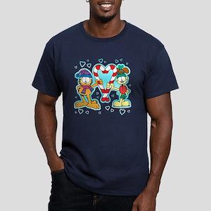 Garfield Candy Cane Heart Men's Fitted T-Shirt (da