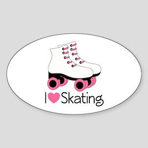 I Love Skating Sticker (Oval)