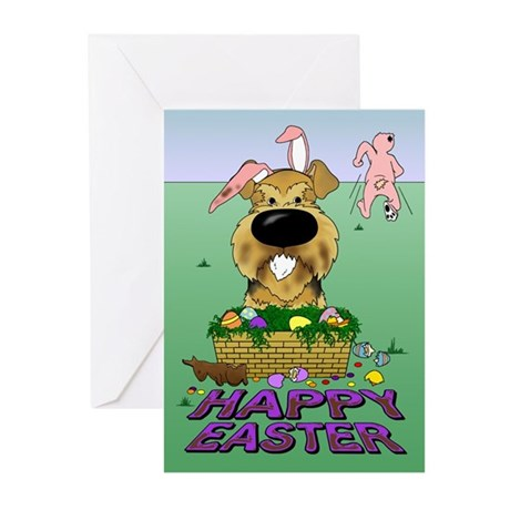Airedale Happy Easter Greeting Cards (Pk of 10)
