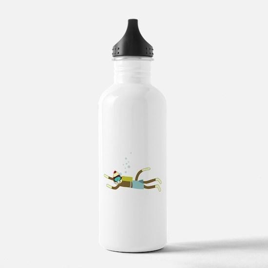 Sock Monkey Scuba Diver Water Bottle