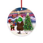 Santa's Golfing Frog Friend Ornament (Round)
