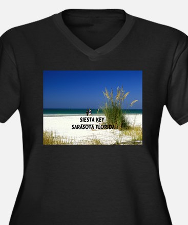 Siesta key Women's Plus Size V-Neck Dark T-Shirt