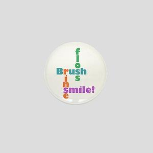 Brush Floss Rinse Smile Mini Button