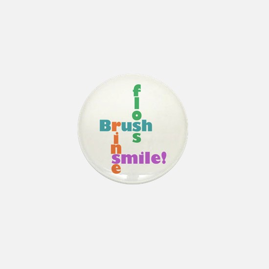 Brush Floss Rinse Smile Mini Button